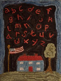 """""""House with Alphabet"""" Hooked Rug...by Polly Minick"""