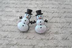 glitter snowmen earrings. $6.00, via Etsy.