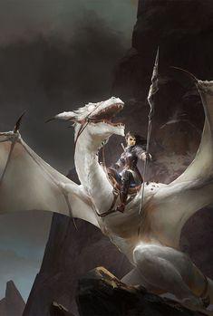 Blind Dragon by Kan Liu - #Blind #Dragon #fantasy #Kan #Liu High Fantasy, Anime Fantasy, Creation Art, Dragon Rider, Dragon Warrior, Female Dragon, Dragon Knight, Art Watch, Dragon Artwork