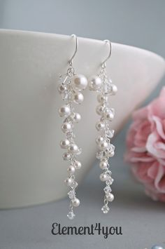 Bridal Earrings Ivory Pearl Wedding Earrings Pearls by Element4you