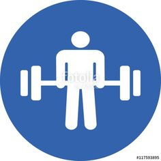 """Download the royalty-free vector """"bodybuilder power strength  sport body barbell building weightlifting athlete builder club gym exercise icon sign vector symbol logo button concept flat silhouette isolated white background """" designed by copics at the lowest price on Fotolia.com. Browse our cheap image bank online to find the perfect stock vector for your marketing projects!"""