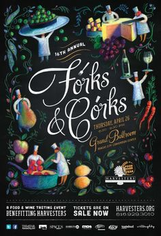 Forks & Corks Posters by Willoughby Design via Behance Food Graphic Design, Graphic Design Posters, Graphic Design Illustration, Web Design, Book Cover Design, Book Design, Fork And Cork, Food Truck Events, Festival Posters