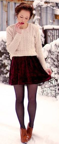 cute idea how to wear a dresses in winter