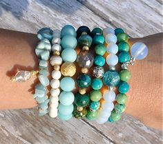 Stack of Blues Beaded Bracelets / Set of 3 by BeadRustic on Etsy