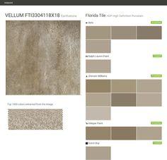 VELLUM FTI3304118X18. Earthstone. HDP High Definition Porcelain. Florida Tile. Behr. Ralph Lauren Paint. Sherwin Williams. Valspar Paint. Dutch Boy.  Click the gray Visit button to see the matching paint names.