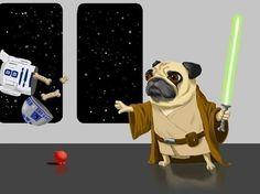 Pug Jedi dog - Dog Art By Brian Rubenacker