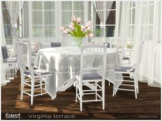 A set of furniture and decor for decoration of the terrase or dining room. Found in TSR Category 'Sims 4 Dining Room Sets'