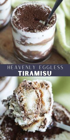 Easy Desserts, Delicious Desserts, Sweet Desserts, Eggless Tiramisu Recipe, Cake Recipes, Dessert Recipes, Best Sweets, Ice Cream Recipes, Dessert Bars