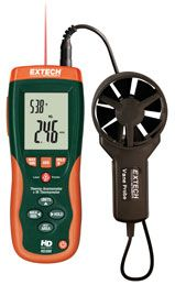 Extech HD300: CFM/CMM Thermo-Anemometer with built-in InfaRed Thermometer    Built-in IR Thermometer measures non-contact surface temperature    Features:  InfraRed Thermometer measures remote surface temperatures to 932°F (500°C) with 30:1 distance to spot ratio and Laser pointer      Simultaneous display of Air Flow in CFM/CMM or Air Velocity plus Ambient Temperature      Easy to set Area dimensions (cm²) are stored in the meter's internal memory for the next power on
