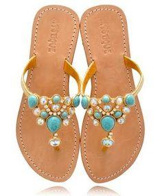 Tendance Chaussures  MYSTIQUE Turquoise Jeweled Sandals  Tendance & idée Chaussures Femme 2016/2017 Description Summer Sandals