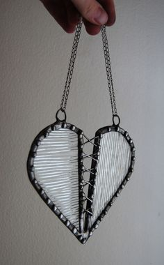 Clear Textured Stained Glass Valentine Corseted Heart. $20.00, via Etsy.