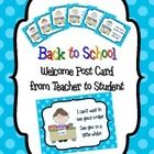"""Welcome To My Class"" Back to School Postcards from Teacher to Student Mail out these adorable postcards to welcome your new students to your classroom!"