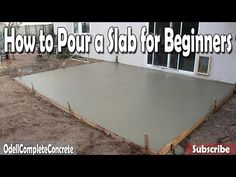 How to Pour Concrete. Knowing how to pour concrete can help you save a few dollars on small projects around the house. You can pour concrete using items you have in the shed or garage; it does not have to take any special tools to do minor. Concrete Patios, Pouring Concrete Slab, How To Lay Concrete, Poured Concrete Patio, Concrete Porch, Concrete Pad, Patio Slabs, Cement Patio, Concrete Projects
