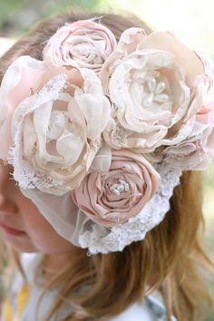 Vintage lace fabric flower wedding veil up-cycled blush pink cream pearls wedding hairpiece fascinator spring easter bonnet hair clip