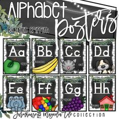Farmhouse Flair Magnolia Alphabet Posters by Hollie Griffith Modern Classroom, Classroom Design, Classroom Displays, Classroom Themes, Classroom Organization, Alphabet Posters, Abc Poster, Cursive Alphabet, School Fun