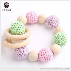 wooden teething ring Crochet beads rattle Amigurumi Baby teething toy Crochet baby rattle Eco friendly Rattle Baby Shower Gift-in Beads from Jewelry & Accessories on Aliexpress.com | Alibaba Group