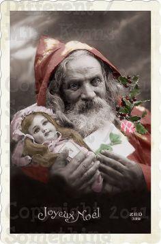 Santa Claus Vintage photo. Etsy... This has inspired me... Creepy Santas for Xmas decor.