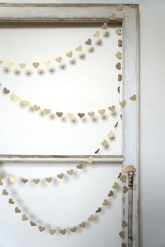 Gold Paper Heart Garland | Winter | February 14th | Valentine's Day Decoration