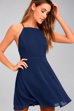 The Letter of Love Navy Blue Backless Skater Dress is our new obsession 18746c1e3