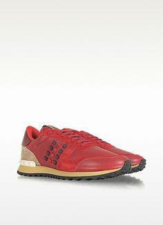 Valentino Garavani Rockstud Red Nappa Leather Sneaker