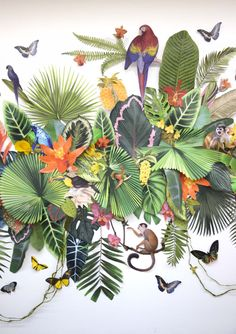 Retail Art Commission for Shopping Center, Three-dimensional paper art collage mural  — CLARE CELESTE
