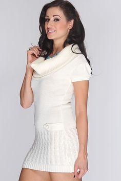 White Knitted Stylish Sweater Dress
