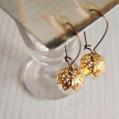Goldie  long length earrings with vintage bauble by EverydayGlory, $17.00