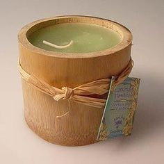 Scented Beeswax Bamboo Candle - White Ginger