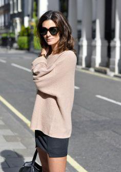 Sweater + Mini Skirt + Sunglasses