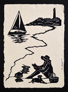 Hand-Cut Papercut Art - AFTERNOON READING on the BEACH - Girl Reading Silhouette // Sale 15% off