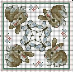Cross-stitch Bunnies biscornu ... no color chart available, just use the pattern chart as your color guide.. or choose your own colors...    ....A PUNO DE CRUZ