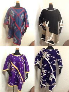 着物チュニック展示即売会 開催中♡左上から時計周りに、大島紬、留袖、一越縮緬、銘仙♪お早めにどうぞ♡