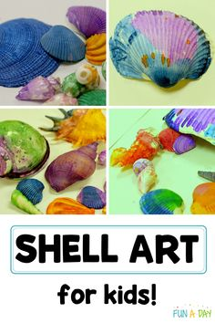 An art activity for kids - painting shells! Preschool, kindergarten, and even older kids will love creating beautiful works of art with shells. Beach Theme Preschool, Summer Preschool Activities, Early Learning Activities, Kindergarten Crafts, Preschool Crafts, Infant Activities, Easy Arts And Crafts, Fun Crafts For Kids, Toddler Crafts
