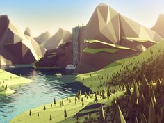 Dribbble - Fjord Low Poly Landscape by level2d