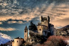 Castle at Saint Pierre, Aosta Valley, Italy.  This region in the north is known for it's medieval castles.