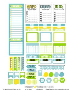 Free Lemon Drop Planner Stickers {page 1} from Vintage Glam Studio