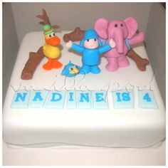 A fondant birthday cake with winter Pokoyo theme.For orders or enquiries,please email us at mail@myvanillapod.com