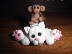 Polymer Clay Cat -Kitty with a Monkey on it's Back Gift/Figurine.