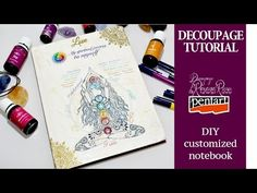 DIY customized notebook decoupage tutorial spiritual notebook with personalized rice paper - YouTube