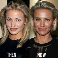 Cameron Diaz - then in her mid & now in her mid still gorgeous Cameron Diaz, Makeup Tips, Beauty Makeup, Hair Makeup, Hair Beauty, Celebrities Then And Now, Girl Celebrities, Facelift Before And After, Bad Plastic Surgeries