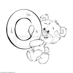 Teddy Bear Alphabet Letter O Coloring Pages Coloring Pages For Boys, Alphabet Coloring Pages, Colouring Pics, Coloring Sheets, Adult Coloring, Coloring Books, Free Coloring, Tatty Teddy, Teddy Bear