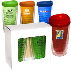 Avalon Tinted Tumbler Set -two Avalon tinted tumblers. Double wall acrylic with tinted inner wall BPA free and include snap-on splash resistant locking lid. #Tumbler #BPAFree #EarthDay #SoBePromos