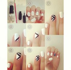 Nailart black and white graphic