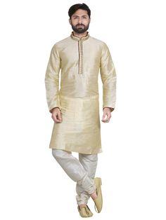 Details about  /Men  Pathani Kurta Pajama Set Cream color New Indian Traditional dress