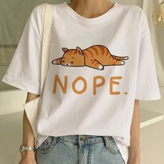 Dog and Cat Kawaii Background Womens Fashion Round Neck Loose Sports Casual T-Shirt Wild Short Sleeve