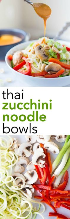 Thai Zucchini Noodle Bowls: A quick 15-minute meal that's gluten free, vegan, and healthy! The creamy nut butter sauce is out-of-this-world! || fooduzzi.com recipes
