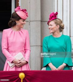 Catherine Duchess of Cambridge and Autumn Phillips stand on the balcony of Buckingham Palace at the annual Trooping The Colour parade on June 17 2017...