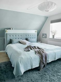 Blue and white bedroom with sloping ceiling – 12371930 – Get high-quality interior design images for your projects – rights-managed and royalty-free Slanted Ceiling Bedroom, Slanted Walls, Sloped Ceiling, Upstairs Bedroom, Bedroom Wall, Bedroom Decor, Living Room Ornaments, Soho House, Modern Bedroom Design