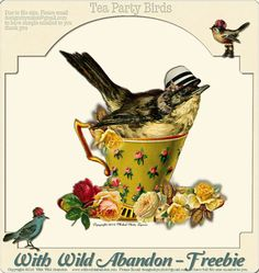 Tea Party Birds Freebie found here: I had so much fun making a set of Tea Pary Birds. Vintage Fall, Vintage Birds, Vintage Tea, Vintage Paper, Vintage Clipart, Graphics Vintage, Tea Cup Art, Vintage Bird Illustration, Bird Drawings