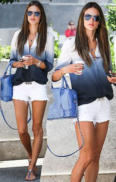 Ombre blouse and white shorts #summer #fashion #ombre Bliss XO Online Retailer launching Summer 2013